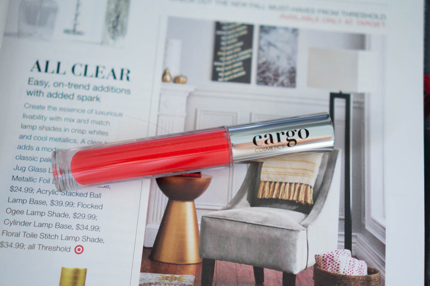 Coral Lips for Fall: Cargo Essential Lip Gloss- Rio